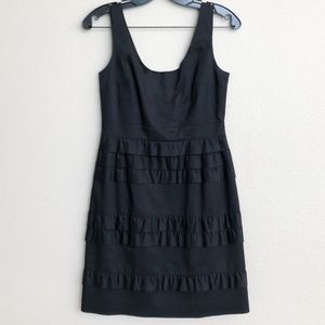 Elie Tahari Sleeveless Black Ruffled Mini Dress
